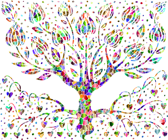 Colorful, abstract tree showing the visible above-ground and invisible below-ground structures of communication